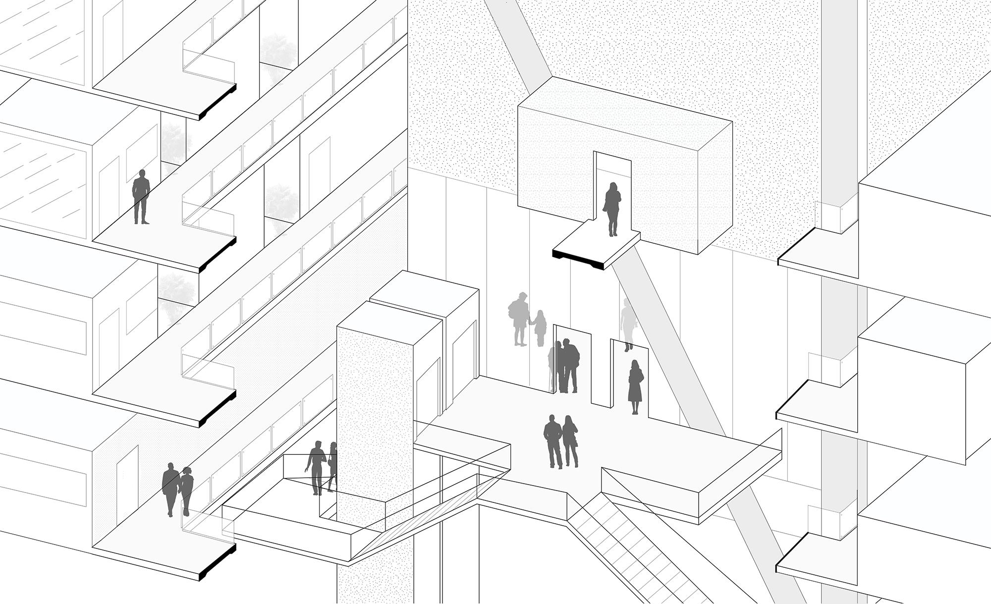 Detail Axon Drawing of Black Box Theatre | Jonathan Malott